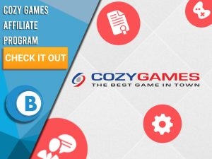 "White background with 4 icons floating around with Cozy Games logo in centre. Blue/white square to left with text ""Cozy Games Affiliate Program"", CTA below that and BoomtownBingo logo under that."