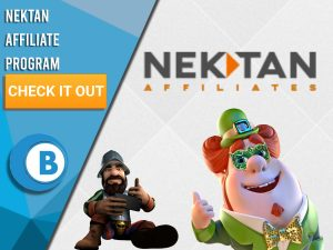 """White background with Two characters and Nektan Affiliates logo. Blue/white square to left with text """"Nektan Affiliate Program"""", CTA beneath and BoomtownBingo logo under."""