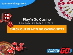 """A Black background with a white circle with 50% opacity covering half of the background. A blue oval can be seen in the top left with """"boomtownbingo.com"""" inside of it. Two lines of text in white writing are displayed in the middle, with an orange box with one line of white text within it. A roulette table can be seen in the bottom left, with casino chips coming out of it. In the opposite corner, 5 cards can be seen spread out, going from 10, J, Q, K, Ace, all in the heart suit (top right). In the middle right, 3 casino dice can be seen being rolled onto the orange box, being red and white in colour. Also, in the bottom right, the Play'n Go logo can be seen."""