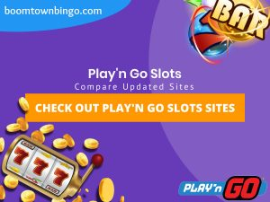"""A purple background with a white circle with 50% opacity covering half of the background. A blue oval can be seen in the top left with """"boomtownbingo.com"""" inside of it. Two lines of text in white writing are displayed in the middle, with an orange box with one line of white text within it. A slot machine can be seen in the bottom left, dispensing coins around the corner. In the opposite corner, a bunch of slot signs can be seen (top right). Also, in the bottom right, the Play'n Go logo can be seen."""
