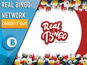 """White and red background with blue and white square over half. Real Bingo Logo is seen with text saying """"Real Bingo Network"""", CTA Under it, BoomtownBingo Logo beneath that."""