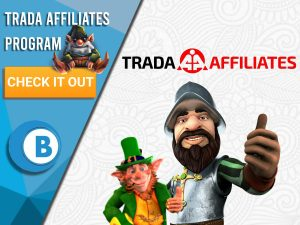 """White background with a variety of characters with the Trada Affiliates Logo present. White/blue square to left with text """"Trada Affiliates Program"""", CTA below and BoomtownBingo Logo."""