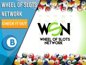 """white and green background. Blue and white square covering half. Wheel of Slots Network logo in the middle. Text to the left """"Wheel of Slots Network"""", beneath is CTA, under that is BoomtownBingo Logo."""