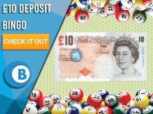 "Green background with bingo balls and £10 note. Blue/white square with text to left ""10 Deposit Bingo"", CTA below and Boomtown Bingo logo beneath."