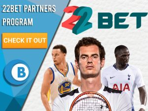 "White background with basketball player, football player and tennis player with 22Bet logo. Blue/white square with text ""22Bet Partners Program"", CTA below and BoomtownBingo logo beneath."