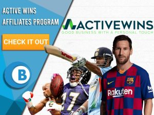"""White background and 4 athletes can be seen. Logo for Active Wins is seen. Blue/white square with text """"Active Wins Affiliates Program"""", CTA under that, BoomtownBingo logo under that."""