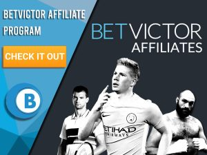"""Grey background with three athletes at the bottom with BetVictor Affiliates logo. Blue/white square with text """"BetVictor Affiliate Program"""", CTA below and BoomtownBingo logo below that."""