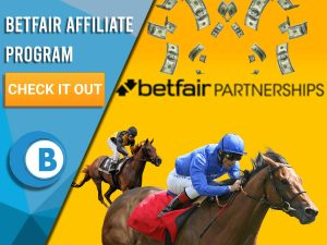 "Yellow background with two horses racing, money raining and Betfair Partnerships logo. Blue/white square with text ""Betfair Affiliate Program"", CTA below that, BoomtownBingo Logo under that."