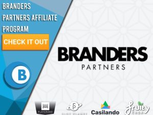 """White background with brand logos underneath and Branders Partners logo. Blue/white square with text """"Branders Partners Affiliate Program"""", CTA beneath and BoomtownBingo logo."""