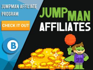 "Black background with pile of gold coins, Jumpman with a basketball and the Jumpman Affiliates logo. Blue/white square with text ""Jumpman Affiliate Program"", CTA below and BoomtownBingo logo beneath it."