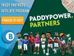 "Dark Green background with a variety of sport players at the bottom, a stack of cash and the Paddy Power Partners Logo. Blue/white square with text ""Paddy Partners Affiliate Program"", CTA below and BoomtownBingo logo under that."