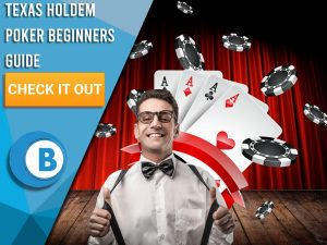 "Background of casino with nerd and Texas Holdem Poker equipment behind. Blue/white square to left with text ""Texas Holdem Poker Beginners Guide"", CTA below it and BoomtownBingo Logo under that."