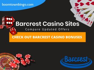"A Black background with a white circle with 50% opacity covering half of the background. A blue oval can be seen in the top left with ""boomtownbingo.com"" inside of it. Two lines of text in white writing are displayed in the middle, with an orange box with one line of white text within it. A roulette table can be seen in the bottom left, with casino chips coming out of it. In the opposite corner, 5 cards can be seen spread out, going from 10, J, Q, K, Ace, all in the heart suit (top right). In the middle right, 3 casino dice can be seen being rolled onto the orange box, being red and white in colour. Also, in the bottom right, the Barcrest logo can be seen."