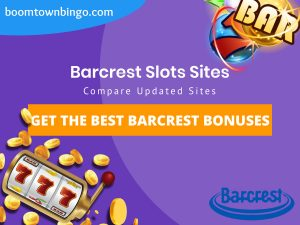 "A purple background with a white circle with 50% opacity covering half of the background. A blue oval can be seen in the top left with ""boomtownbingo.com"" inside of it. Two lines of text in white writing are displayed in the middle, with an orange box with one line of white text within it. A slot machine can be seen in the bottom left, dispensing coins around the corner. In the opposite corner, a bunch of slot signs can be seen (top right). Also, in the bottom right, the Barcrest logo can be seen."