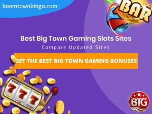 """A purple background with a white circle with 50% opacity covering half of the background. A blue oval can be seen in the top left with """"boomtownbingo.com"""" inside of it. Two lines of text in white writing are displayed in the middle, with an orange box with one line of white text within it. A slot machine can be seen in the bottom left, dispensing coins around the corner. In the opposite corner, a bunch of slot signs can be seen (top right). Also, in the bottom right, the Big Time Gaming logo can be seen."""