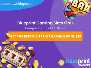 "A purple background with a white circle with 50% opacity covering half of the background. A blue oval can be seen in the top left with ""boomtownbingo.com"" inside of it. Two lines of text in white writing are displayed in the middle, with an orange box with one line of white text within it. A slot machine can be seen in the bottom left, dispensing coins around the corner. In the opposite corner, a bunch of slot signs can be seen (top right). Also, in the bottom right, the Blueprint Gaming logo can be seen."