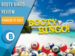 "Background of beach with Bingo Balls and Booty Bingo logo. Blue/white square with text to left ""Booty Bingo Review"", CTA below and Boomtown Bingo logo beneath."
