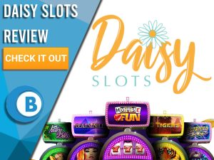 """White background with slot machines and Daisy Slots logo. Blue/white square to left with text """"Daisy Slots Review"""", CTA below and Boomtown Bingo logo."""