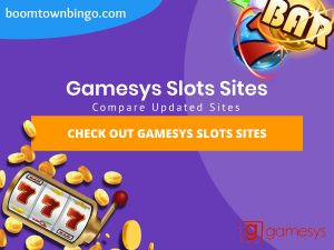 """A purple background with a white circle with 50% opacity covering half of the background. A blue oval can be seen in the top left with """"boomtownbingo.com"""" inside of it. Two lines of text in white writing are displayed in the middle, with an orange box with one line of white text within it. A slot machine can be seen in the bottom left, dispensing coins around the corner. In the opposite corner, a bunch of slot signs can be seen (top right). Also, in the bottom right, the Gamesys logo can be seen."""