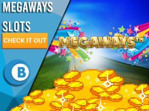 """Background of hills with rainbow, gold and Megaways logo. Blue/white square with text to left """"Megaways Slots"""", CTA below and BoomtownBingo logo under that."""