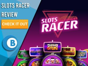 """Black/purple Background with slot machines and Slots Racer logo. Blue/white square to left with text """"Slots Racer Review"""", CTA and Boomtown Bingo logo."""