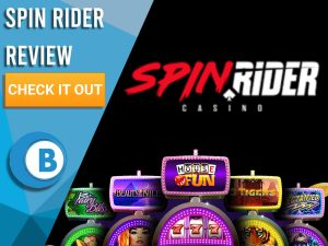 "Black background with slot machines and Spin Rider logo. Blue/white square to left with text ""Spin Rider Review"", CTA below and Boomtown Bingo logo."