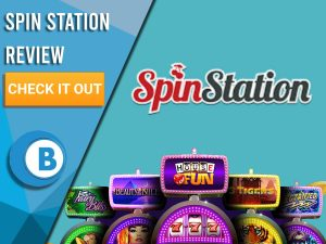 "Turquoise Background with slot machines and Spin Station logo. Blue/white square to left with text ""Spin Station Review"", CTA and Boomtown Bingo logo."