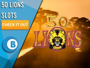 """Safari background with logo for 50 Lions in centre. Blue/white square with text """"50 Lions Slots"""", CTA below and BoomtownBingo logo beneath that."""