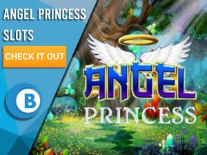 """Background of fairy forest, with Angel Princess Logo in centre. Left is Blue/white box with text """"Angel Princess Slots"""", a cta below that and BoomtownBingo logo below that."""