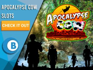 "Background of Vietnam Jungle with Silhouettes of soldiers and logo for Apocalypse Cow. Blue/white square to left with text ""Apocalypse Cow Slots"", CTA below that and BoomtownBingo logo under that."