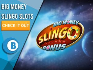 """Background of space, with Big Money Slingo Slots logo shown in centre. Left is blue/white square with text """"Big Money Slingo Slots"""", CTA beneath it and BoomtownBingo logo under that."""
