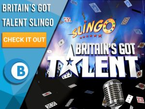 """Background of Britains Got Talent with a crowd, lights, cards and a microphone. Slingo Britains Got Talent logo is seen to the right of """"Britain's Got Talent Slingo"""", with a CTA beneath it and the BoomtownBingo!"""