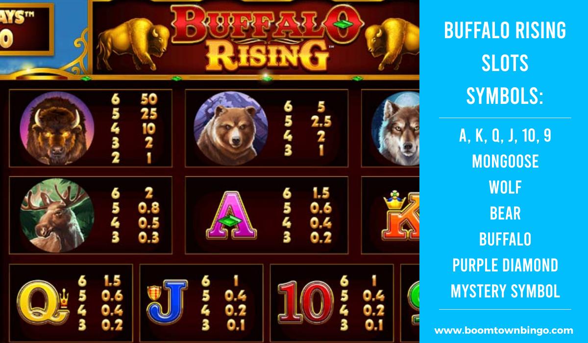 Buffalo Rising Slots machine Symbols