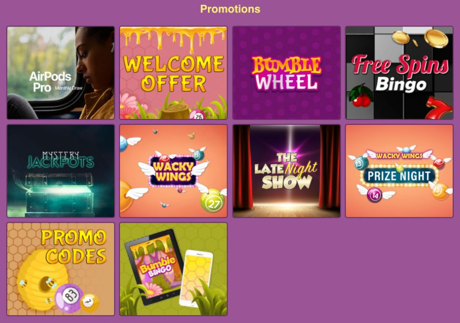 Bumble Bingo Website Promotions
