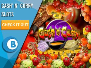 "Background of Indian restaurant, vegetable border and logo for Cash' n' Curry. Blue/white square to left with text ""Cash' n' Curry Slots"", CTA below that and BoomtownBingo logo under that."