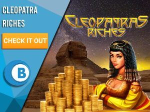 """Background of Egypt Sphynx, Cleopatra, pile of gold and Cleopatra Riches logo. Blue/white square with text """"Cleopatra Riches slots"""", CTA below and BoomtownBingo logo below that."""
