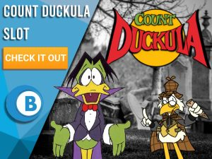 """Background of graveyard, with count Duckula, Dr. Von Goosewing and the logo for Count Duckula. Blue/white square to left with text """"Count Duckula Slot"""", CTA below it and BoomtownBingo logo under that."""