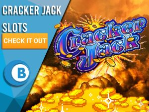 """Background of explosion with gold piles and Cracker Jack Logo. Blue/white square to left with text """"Cracker Jack Slots"""", CTA beneath and BoomtownBingo Logo under that."""