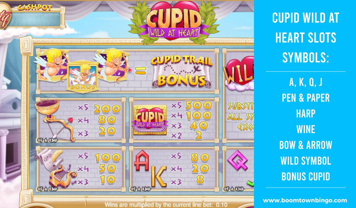 Cupid Wild at Heart slots machine Symbols