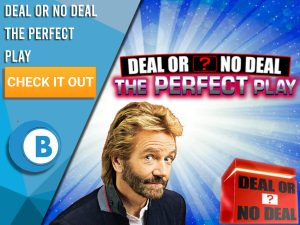 """Background of Blue/white explosion, with Noel Edmonds and DoND box with Deal or No Deal The Perfect Play logo. Blue/white square to left with text """"Deal or No Deal The Perfect Play"""", with CTA below and BoomtownBingo under that."""