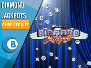 "Background of Blue curtain with diamonds raining and Diamond Jackpots Logo. Blue/white square to left with text ""Diamond Jackpots"", CTA under, BoomtownBingo Logo under that."