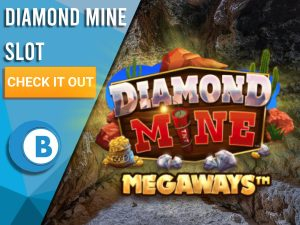 """Background of Mine with Diamond Mine logo. Blue/white Square to left with text """"Diamond Mine Slot"""", CTA below and BoomtownBingo logo under that."""