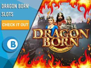 "Background of castle, with fire border and Dragon Born Logo. Blue/white square with text ""Dragon Born Slots"", CTA below that and BoomtownBingo logo beneath that."