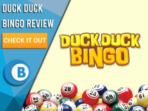"Yellow background with bingo balls and Duck Duck Bingo logo. Blue/white square to left with text ""Duck Duck Bingo Review"", CTA below and Boomtown Bingo logo."