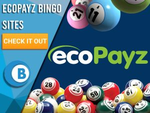 "Dark Blue background with Bingo Balls and EcoPayz logo. Blue/white square with text to left ""EcoPayz Bingo Sites"", CTA below and Boomtown Bingo logo beneath."