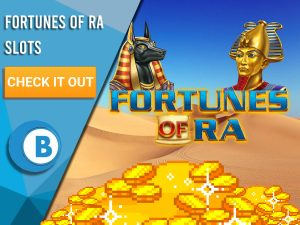 "Background of desert with gold at bottom, statue of Pharaoh and Anubis and Logo for Fortune Of Ra. Blue/white square with text ""Fortunes of Ra Slots"", CTA below that and BoomtownBingo logo."