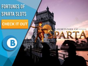 "Background of ancient town with silhouettes of Spartan Soldiers and Fortunes of Sparta Logo. Blue/white square to left with text ""Fortunes of Sparta Slots"", CTA below it and BoomtownBingo logo under that."