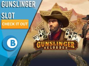 """Background of wild west town with cowboy, model 1887s and Gunslinger logo. Blue/white square is seen on left with text """"Gunslinger Slot"""", CTA below and BoomtownBingo logo below that."""