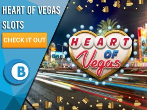 """Background of Las Vegas with Heart of Vegas logo in centre. Border is suit of cards in gold. Left is blue/white square with text """"Heart of Vegas Slots"""", CTA below it and BoomtownBingo logo under that."""