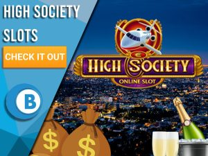 "Background of city, champagne, money bags, plane and High Society Logo. Blue/white square with text ""High Society Slots"", CTA below and BoomtownBingo logo beneath that."